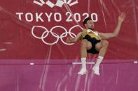 Niklas Kaul, of Germany, competes during the men's decathlon high jump at the 2020 Summer Olympics, Wednesday, Aug. 4, 2021, in Tokyo. (AP Photo/Morry Gash)