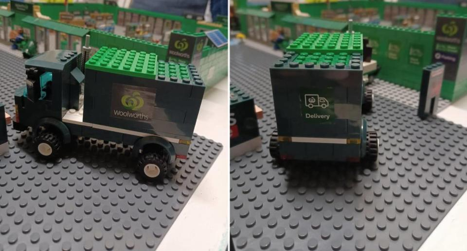 Bunnings truck with Woolworths Bricks set. Source: Facebook
