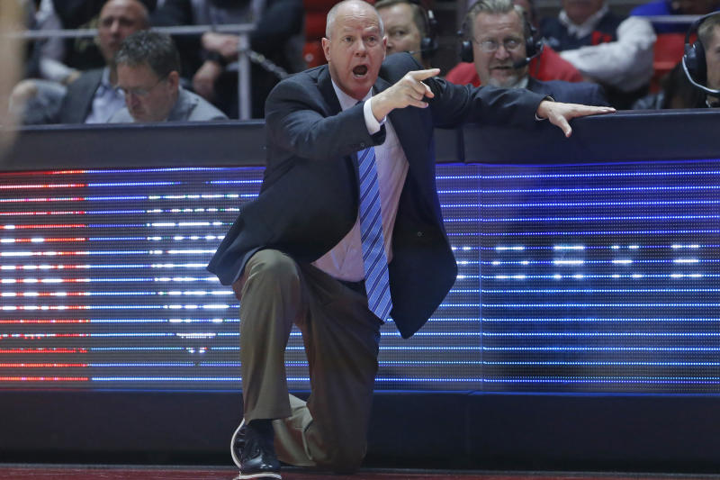 Colorado head coach Tad Boyle shouts to his team in the second half during an NCAA college basketball game against Utah Saturday, March 7, 2020, in Salt Lake City. (AP Photo/Rick Bowmer)