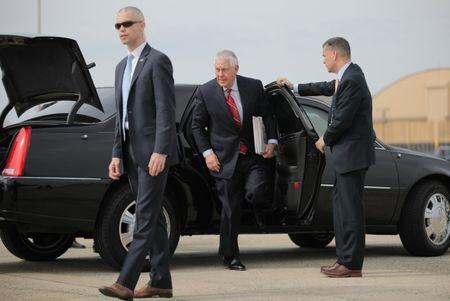 U.S. Secretary of State Tillerson arrives prior to departure for Mexico at Joint Base Andrews, Maryland