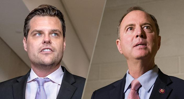Rep. Matt Gaetz, left, and House Intelligence Committee Chairman Adam Schiff. (Photos: Alex Wroblewski/Getty Images, Alex Brandon/AP)