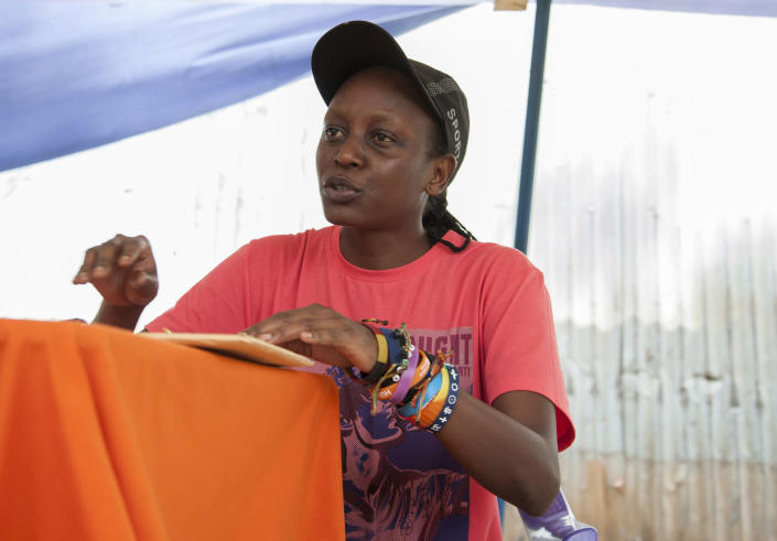 Gay rights activist Kasha Jacqueline Nabagesera came up with the idea for Bombastic, a magazine published for the LGBTI community, in 2013 (AFP Photo/Isaac Kasamani)