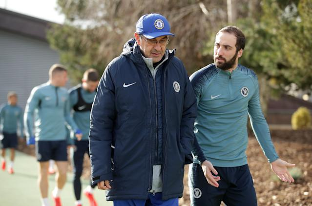 Chelsea's transfer ban could prevent manager Maurizio Sarri (left) from signing stars like Gonzalo Higuain outright. (Adam Davy/Getty)