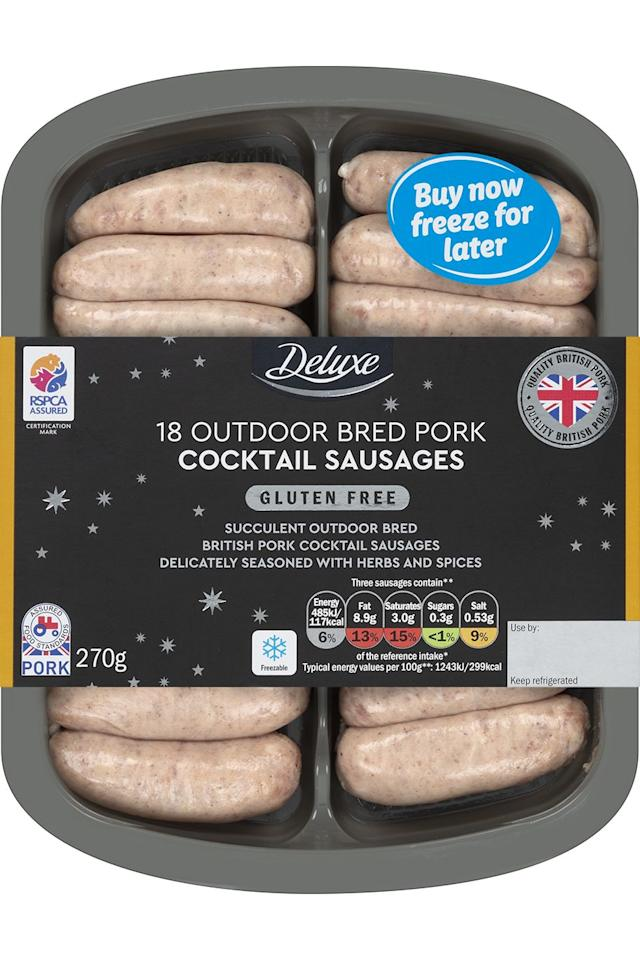 "<p>Deep golden-brown cocktail sausages with a herby, honeyed caramelised aroma. The skin is delicate and thin with a subtly flavoured, well-seasoned, moist and meaty filling.</p><p><a class=""body-btn-link"" href=""https://www.lidl.co.uk/"" target=""_blank"">AVAILABLE IN STORE ONLY</a> <strong>Lidl,</strong> <strong>£2.49</strong><strong> for 270g (pack 18)</strong></p>"