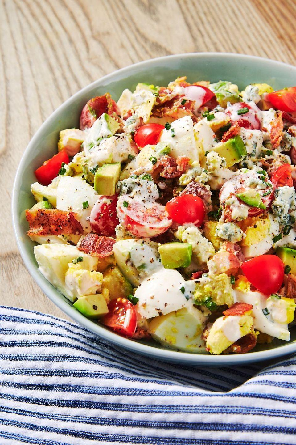 """<p>Yes, Cobb salads have eggs. But this Cobb egg salad doubles up on the protein for a more filling dish, </p><p><strong><em>Get the recipe at <a href=""""https://www.delish.com/cooking/recipe-ideas/a19484613/cobb-egg-salad-recipe/"""" rel=""""nofollow noopener"""" target=""""_blank"""" data-ylk=""""slk:Delish"""" class=""""link rapid-noclick-resp"""">Delish</a>. </em></strong><br></p>"""
