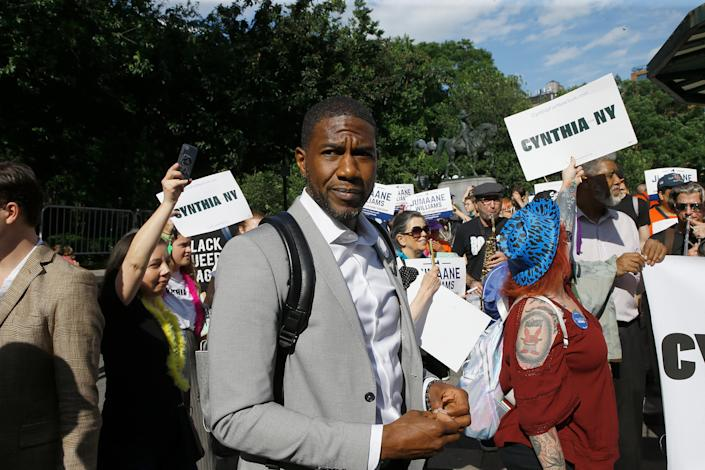 Jumaane Williams very nearly upset Kathy Hochul in the New York primary for lieutenant governor. (John Lamparski via Getty Images)