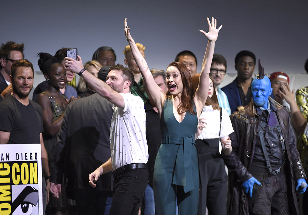 <p>Host Chris Hardwicke attempted to take a mammoth selfie with the entire Marvel clan on July 23. Among his subjects: Brie Larson (making her first official appearance as the future Captain Marvel), and the casts of <i>Guardians of the Galaxy 2</i>, <i>Black Panther</i>, <i>Doctor Strange</i>, and<i>Spider-Man: Homecoming</i>.<i>(Photo: Chris Pizzello/Invision/AP)</i></p>