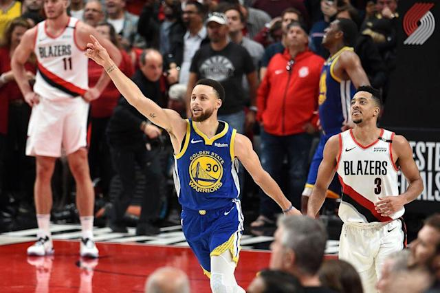 "<a class=""link rapid-noclick-resp"" href=""/nba/teams/golden-state/"" data-ylk=""slk:Warriors"">Warriors</a> superstar <a class=""link rapid-noclick-resp"" href=""/nba/players/4612/"" data-ylk=""slk:Stephen Curry"">Stephen Curry</a> scored a game-high 37 points in the close-out victory. (Getty Images)"