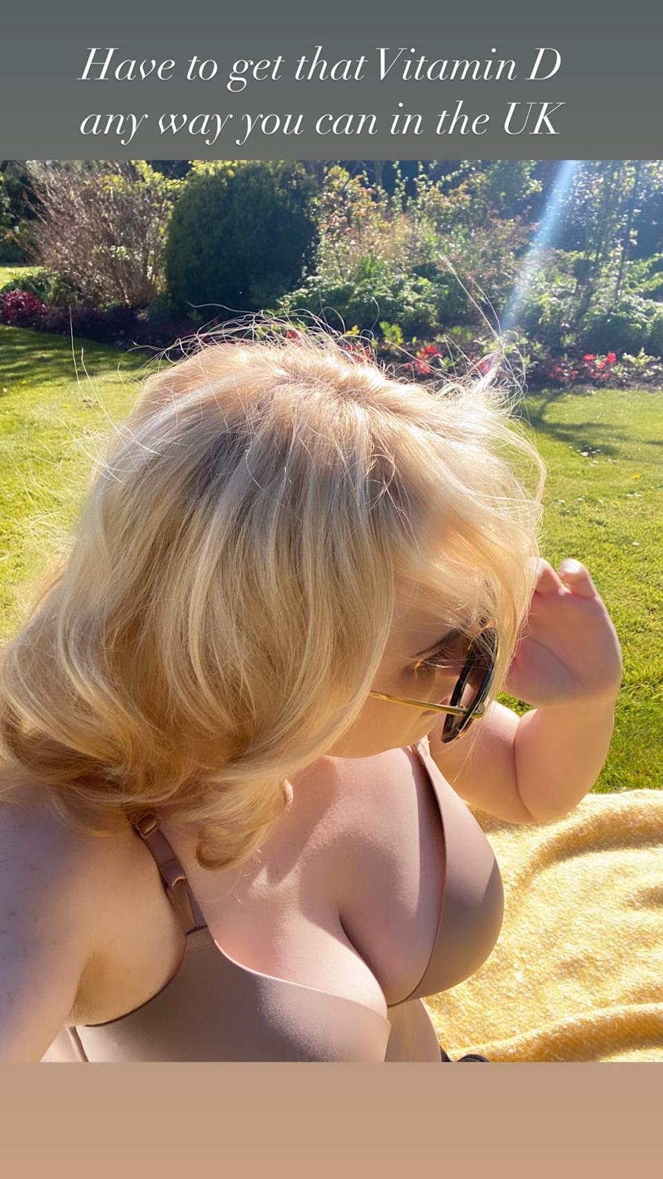 """""""Have to get that Vitamin D any way you can in the UK,"""" the Pitch Perfect star quipped. Photo: Instagram/rebelwilson."""