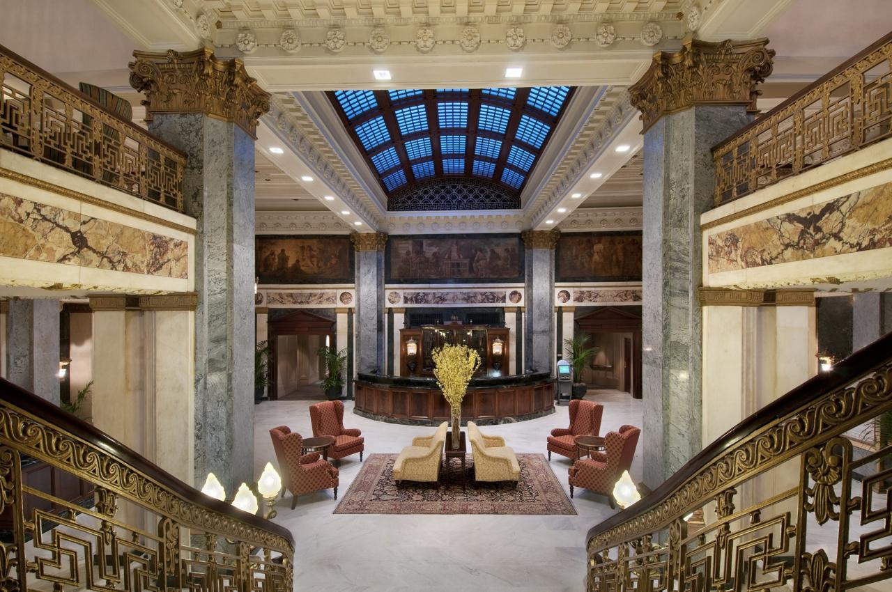 """<strong>Louisville: $127</strong>The marble-and-bronze-lined Beaux Arts beauty that is the<a href=""""http://www.seelbachhilton.com/"""">Seelbach Hilton</a> is even more <em>luxe</em> than when it opened in 1903: valet parking, same-day shoeshine, a full-size Starbucks off the lobby, and in-room check-out. Have a glass of bourbon in the billiard room, where Paul Newman filmed scenes for <em>The Hustler</em>. Local tip: Float like a butterfly into the <a href=""""http://www.alicenter.org/"""">Muhammad Ali Center</a>, where you can explore his life history within the frame of his six core principles, including confidence and respect."""