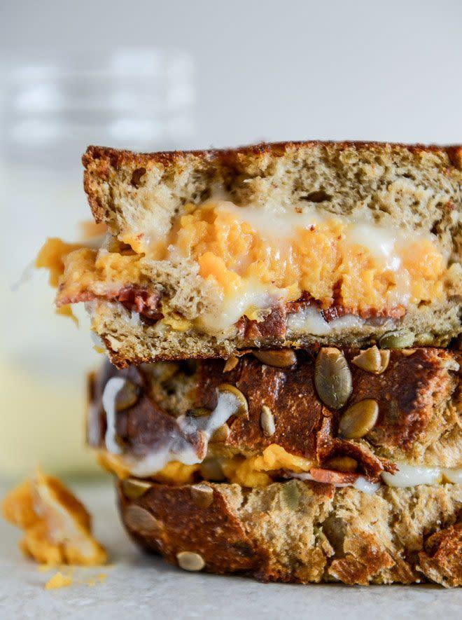 "<strong>Get the <a href=""http://www.howsweeteats.com/2013/11/leftover-sweet-potato-casserole-brie-and-bacon-grilled-cheese/"" rel=""nofollow noopener"" target=""_blank"" data-ylk=""slk:Sweet Potato, Brie and Bacon Grilled Cheese recipe"" class=""link rapid-noclick-resp"">Sweet Potato, Brie and Bacon Grilled Cheese recipe</a>&nbsp;from How Sweet It Is</strong>"