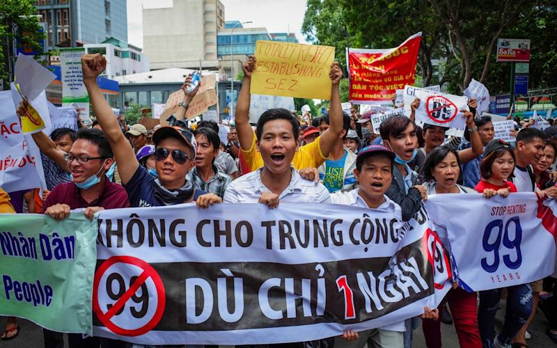 Protests erupted in Ho Chi Minh City over a proposal to set up special economic zones - AFP