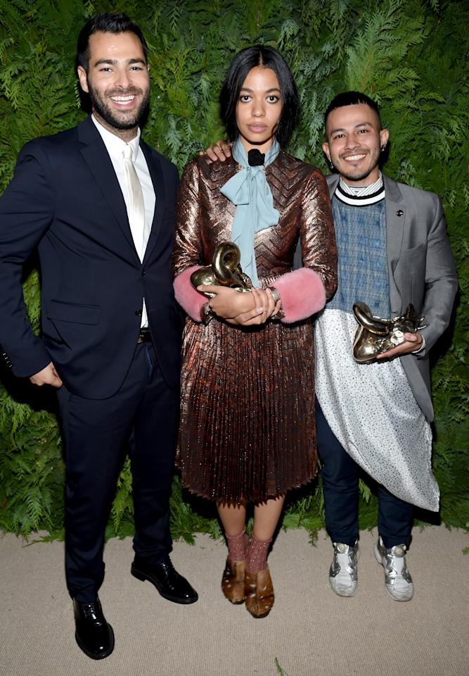 <p>Womenswear designer Jonathan Simkhai, Brother Vellies' sustainable shoe designer, Aurora James, and Gypsy Sport's Rio Uribe all took home the grand prize of $300,000 plus a year of mentorship. <i>Photo: Getty Images</i></p>