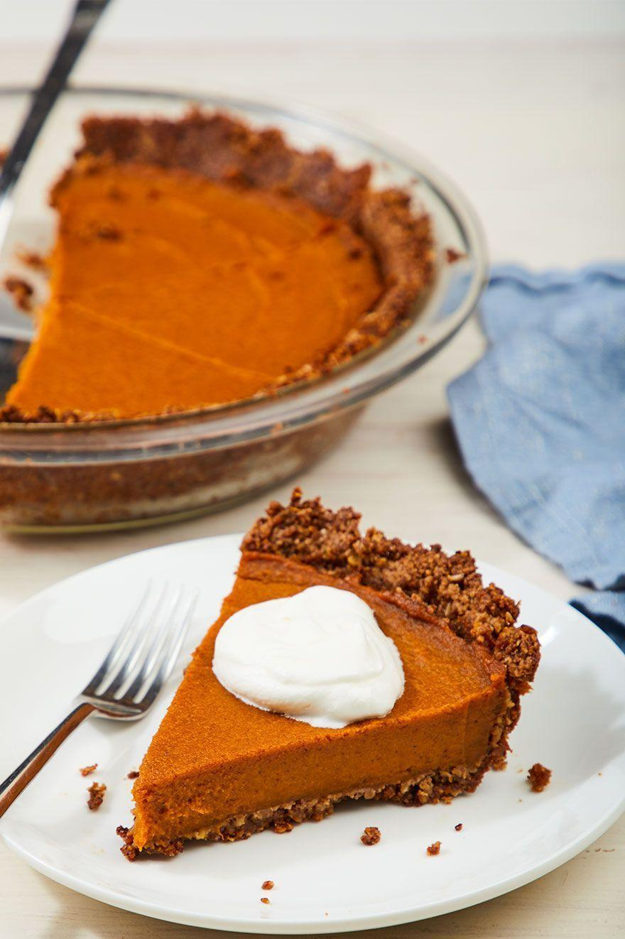 """<p>'Tis the season to stuff ourselves with pumpkin sweets. </p><p>Get the recipe from <a href=""""https://www.delish.com/cooking/recipe-ideas/a28449365/vegan-pumpkin-pie-recipe/"""" rel=""""nofollow noopener"""" target=""""_blank"""" data-ylk=""""slk:Delish"""" class=""""link rapid-noclick-resp"""">Delish</a>.</p>"""