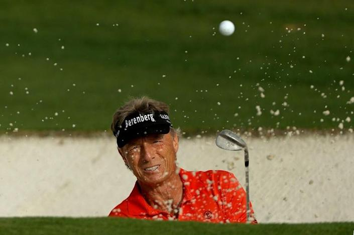 Golden oldie: German veteran Bernhard Langer, 63, became the oldest player to make the cut in Masters history