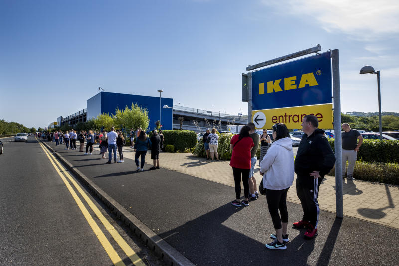 IKEA in Belfast opens its door for the first time since the lockdown began with hundreds of shoppers queuing to get in. Some had been queuing from before 8am to be first in line when the doors opened at 10am. (Photo by Liam McBurney/PA Images via Getty Images)