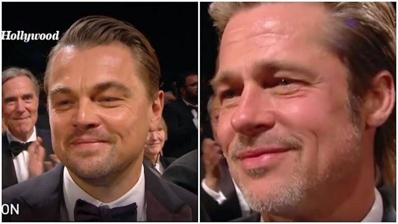 Brad and Leo were forced to awkwardly avoid the camera's lens. Photo: YouTube