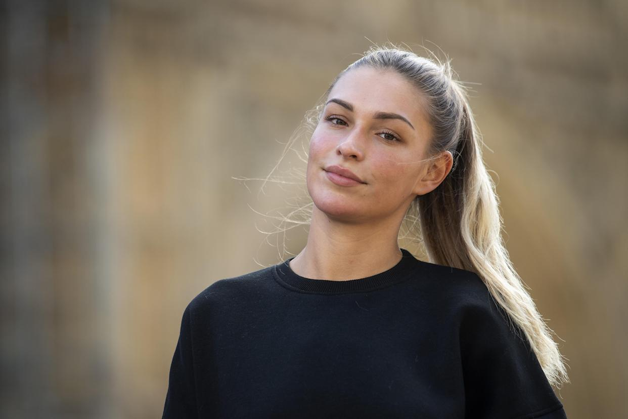 Love Island star Zara McDermott joins Refuge, a domestic violence charity, near Parliament Square in London to campaign for people threatening to share intimate images to be made a crime. (Photo by Victoria Jones/PA Images via Getty Images)