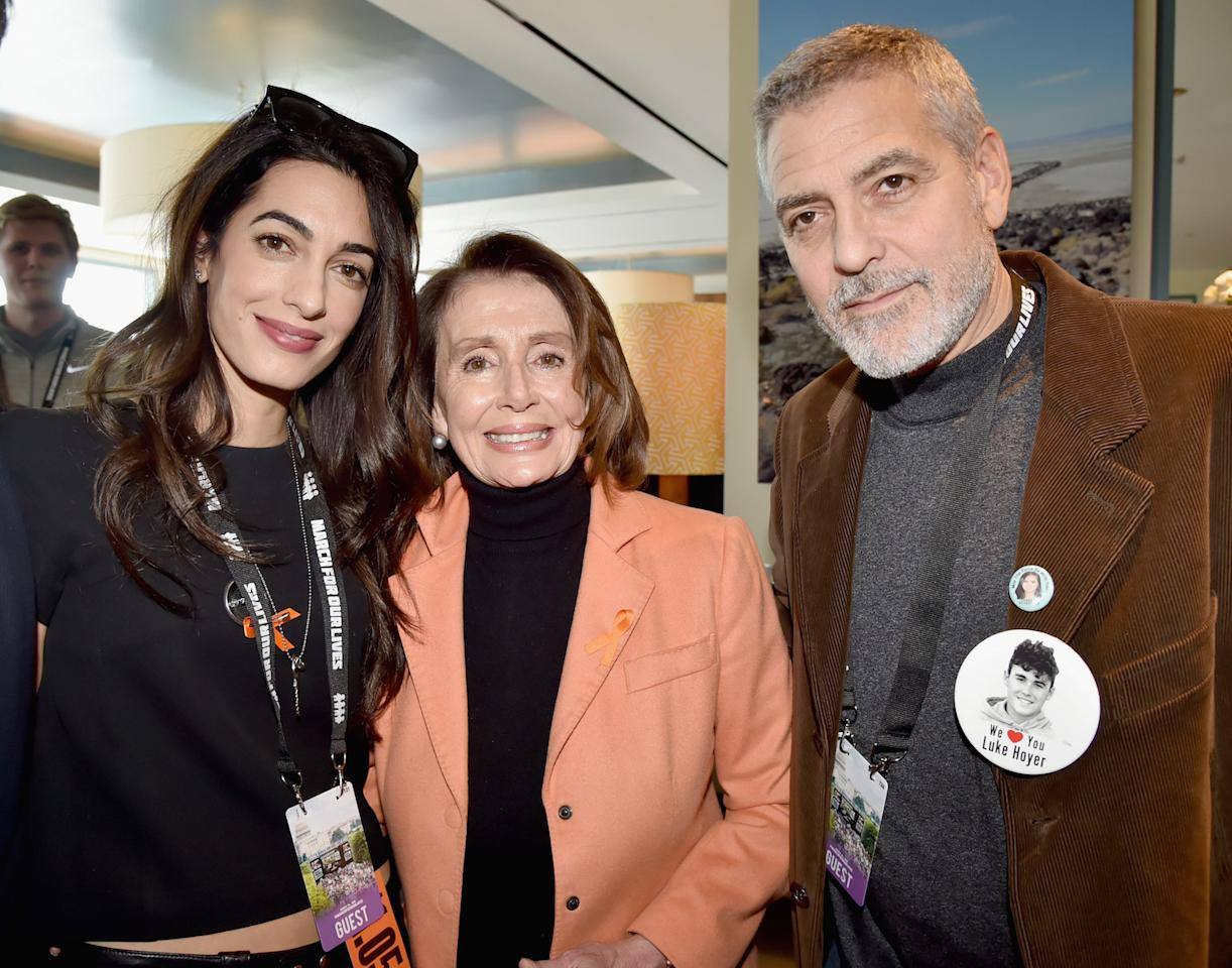 <p>Amal Clooney, Congresswoman Nancy Pelosi, and George Clooney show their support in Washington, D.C. (Photo: Getty Images) </p>