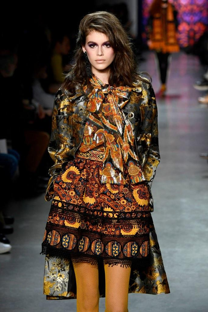 Kaia Gerber walks the runway for Anna Sui during New York Fashion Week: The Shows at Gallery I at Spring Studios on February 12, 2018 in New York City. Photo courtesy of Getty Images.