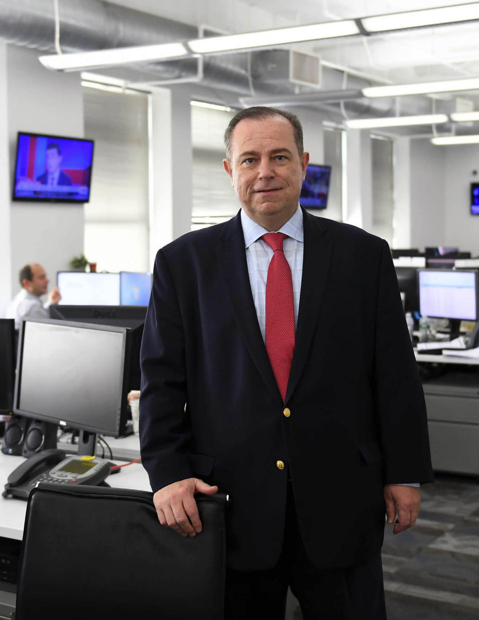This 2018 photo shows Chris Ruddy, CEO of Newsmax. The network's rise in popularity has been astonishingly swift and could indicate the first serious threat to Fox News Channel's iron grip on conservative viewers in two decades. (Newsmax via AP)
