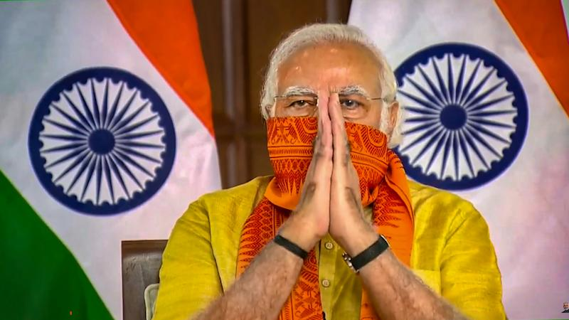 **EDS: SCREENSHOT FROM VIDEO STREAM** New Delhi: Prime Minister Narendra Modi during inauguration of six mega projects in Uttarakhand under the 'Namami Gange Mission' through a video conference, New Delhi, Tuesday, Sept. 29, 2020. (PTI Photo) (PTI29-09-2020_000025A)