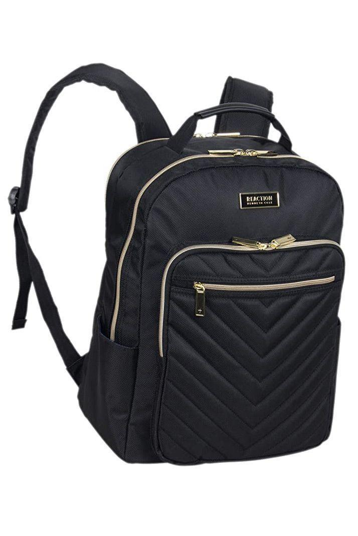 """<p><strong>Kenneth Cole </strong></p><p>amazon.com</p><p><strong>$59.99</strong></p><p><a href=""""https://www.amazon.com/dp/B07GX3PWNK?tag=syn-yahoo-20&ascsubtag=%5Bartid%7C10055.g.27508273%5Bsrc%7Cyahoo-us"""" rel=""""nofollow noopener"""" target=""""_blank"""" data-ylk=""""slk:Shop Now"""" class=""""link rapid-noclick-resp"""">Shop Now</a></p><p>If you're looking for a feminine backpack that still holds everything you'll need, the Kenneth Cole Reaction backpack is ideal. It has two front zippered pockets for smaller items and a roomy interior. The back zippered sleeve is padded for laptops up to 15 inches. We love that there are <strong>organized interior pockets for your phone, pens and even a tablet.</strong> Made from polyester fabric, Amazon reviewers were impressed how durable this backpack was through everyday use and travel. </p>"""