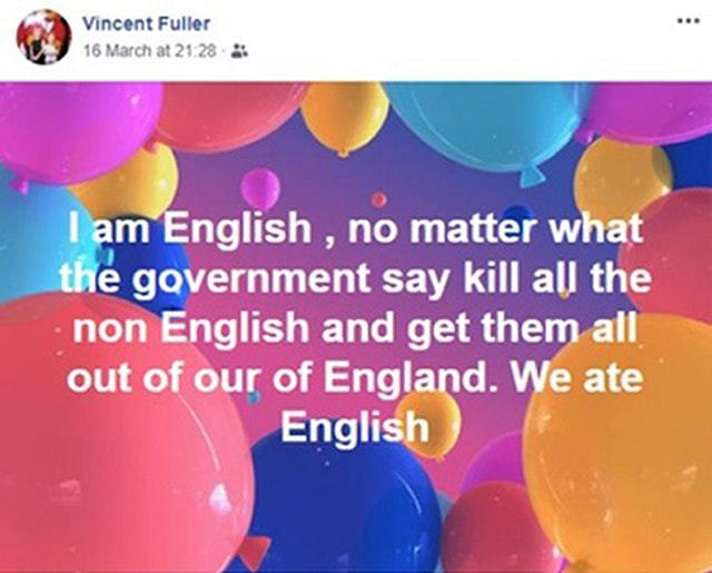 A Facebook post by Vincent Fuller before carrying out the terror attack
