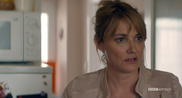 A hurt Cath (Sarah Parish) lashes out at Trish in the worst way. (Credit: BBC America)