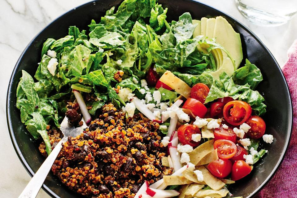 """This <a href=""""https://www.epicurious.com/special-consideration/vegetarian?mbid=synd_yahoo_rss"""" rel=""""nofollow noopener"""" target=""""_blank"""" data-ylk=""""slk:vegetarian"""" class=""""link rapid-noclick-resp"""">vegetarian</a> version of a taco salad is a balanced, full meal in a bowl. Crisp romaine and peppery arugula tossed in a creamy, intentionally zippy avocado-lime dressing form the base. <a href=""""https://www.epicurious.com/recipes/food/views/fresh-taco-salad-with-creamy-avocado-lime-dressing?mbid=synd_yahoo_rss"""" rel=""""nofollow noopener"""" target=""""_blank"""" data-ylk=""""slk:See recipe."""" class=""""link rapid-noclick-resp"""">See recipe.</a>"""