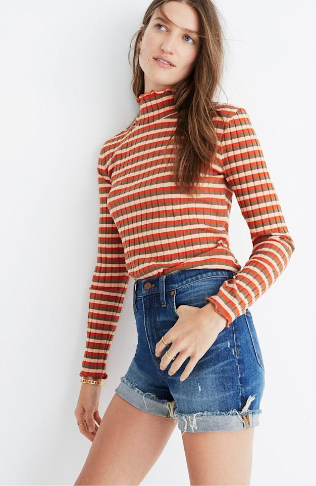 """<p>You can rock these <a href=""""https://www.popsugar.com/buy/Madewell-High-Rise-Cuffed-Denim-Shorts-547411?p_name=Madewell%20High%20Rise%20Cuffed%20Denim%20Shorts&retailer=shop.nordstrom.com&pid=547411&price=70&evar1=fab%3Aus&evar9=44757777&evar98=https%3A%2F%2Fwww.popsugar.com%2Ffashion%2Fphoto-gallery%2F44757777%2Fimage%2F47188939%2FMadewell-High-Rise-Cuffed-Denim-Shorts&list1=shopping%2Cdenim%2Cshorts%2Cspring%2Csummer%2Cdenim%20shorts%2Cspring%20fashion%2Csummer%20fashion&prop13=api&pdata=1"""" rel=""""nofollow"""" data-shoppable-link=""""1"""" target=""""_blank"""" class=""""ga-track"""" data-ga-category=""""Related"""" data-ga-label=""""https://shop.nordstrom.com/s/madewell-high-rise-cuffed-denim-shorts-glen-oaks/4532312/full?origin=keywordsearch-personalizedsort&amp;breadcrumb=Home%2FAll%20Results&amp;color=glen%20oaks"""" data-ga-action=""""In-Line Links"""">Madewell High Rise Cuffed Denim Shorts</a> ($70) so may ways.</p>"""