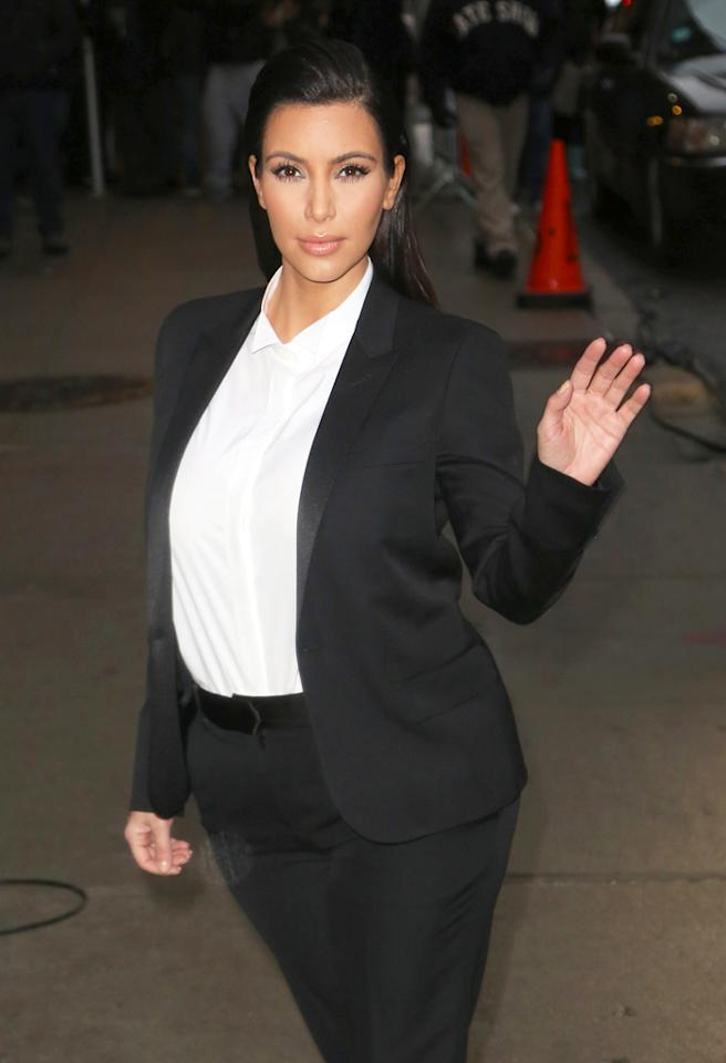 Kim Kardashian visits the 'Late Show with David Letterman' in NYC.