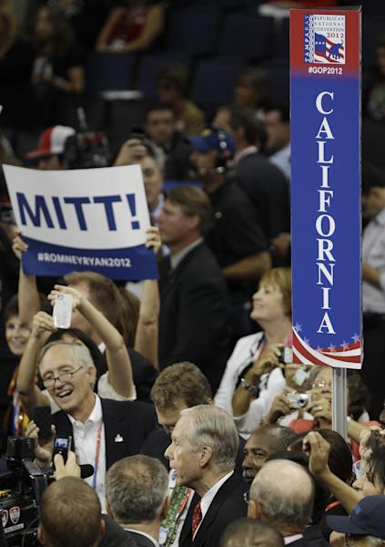 California casts their votes for presidential candidate Mitt Romney during the Republican National Convention in Tampa, Fla., on Tuesday, Aug. 28, 2012. (AP Photo/Charlie Neibergall)