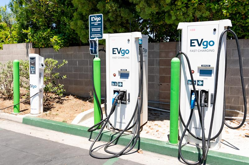 EVgo charging station located in a parking lot