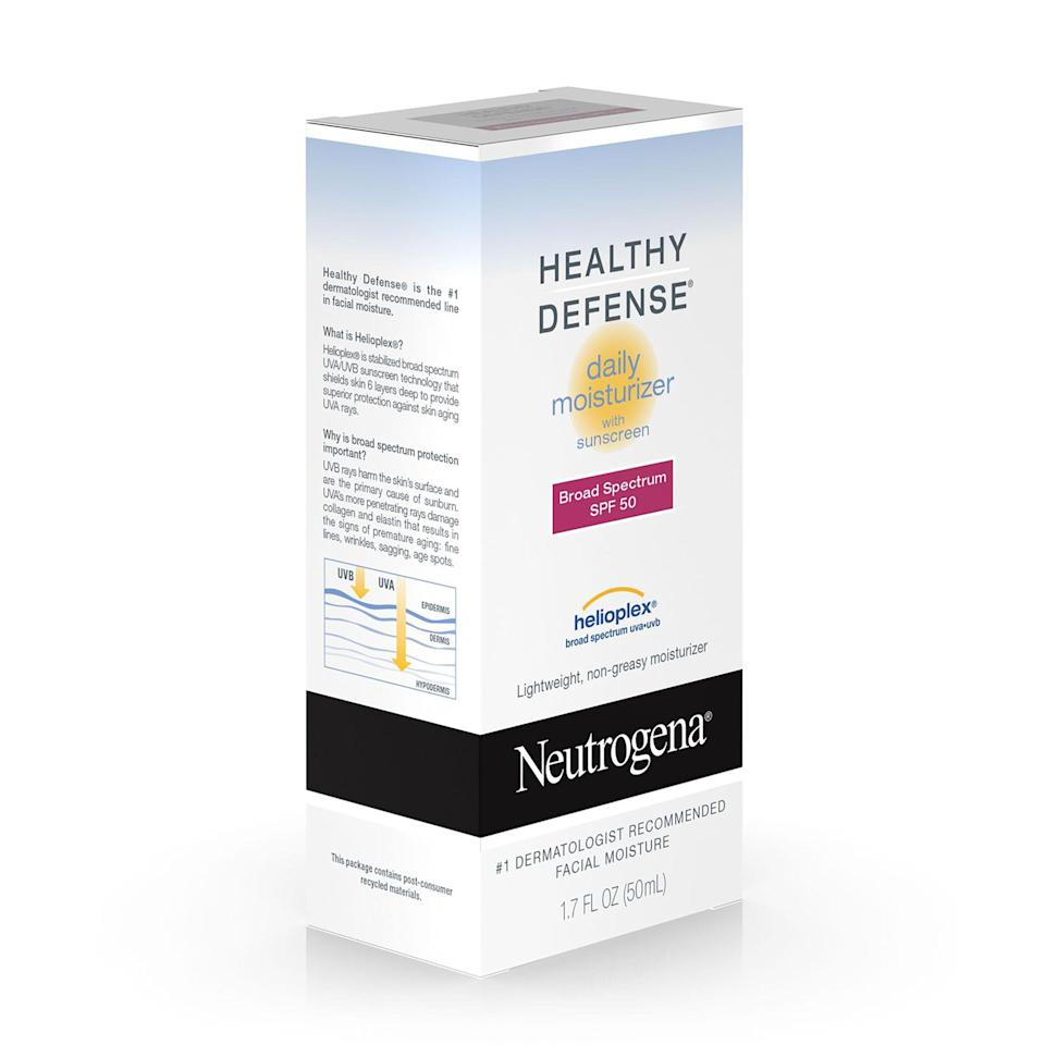 """<p>Former executive editor Danielle Pergament swears by Neutrogena's Healthy Defense SPF 50, which (we won't lie) goes on with a bit of a white cast at first but disappears completely after a few minutes. It gives skin a matte — but not flat — finish and protects against free-radical damage with a dose of vitamin E. Marchbein claims this is one of her favorite SPF moisturizers. """"I've been using Neutrogena Healthy Defense SPF50 with Helioplex for the better part of a decade,"""" she says. """"It's oil-free, so it works well even for those with acne-prone skin (like me).""""</p> <p><strong>$15</strong> (<a href=""""https://shop-links.co/1629516017008363187"""" rel=""""nofollow noopener"""" target=""""_blank"""" data-ylk=""""slk:Shop Now"""" class=""""link rapid-noclick-resp"""">Shop Now</a>)</p>"""