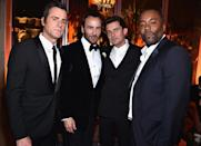 <p>Over in the dapper man section of the Vanity Fair bash stood these gents. We wonder what Tom Ford really thought about Orlando Bloom and Lee Daniels going sans ties. (Photo: Kevin Mazur/VF17/WireImage) </p>