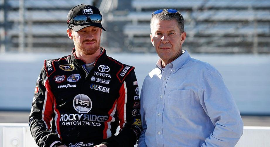 MARTINSVILLE, VA - OCTOBER 30: Jeb Burton, driver of the #23 Rocky Ridge/Estes Toyota, and his father Ward Burton stand on the grid during qualifying for the NASCAR Sprint Cup Series Goody\