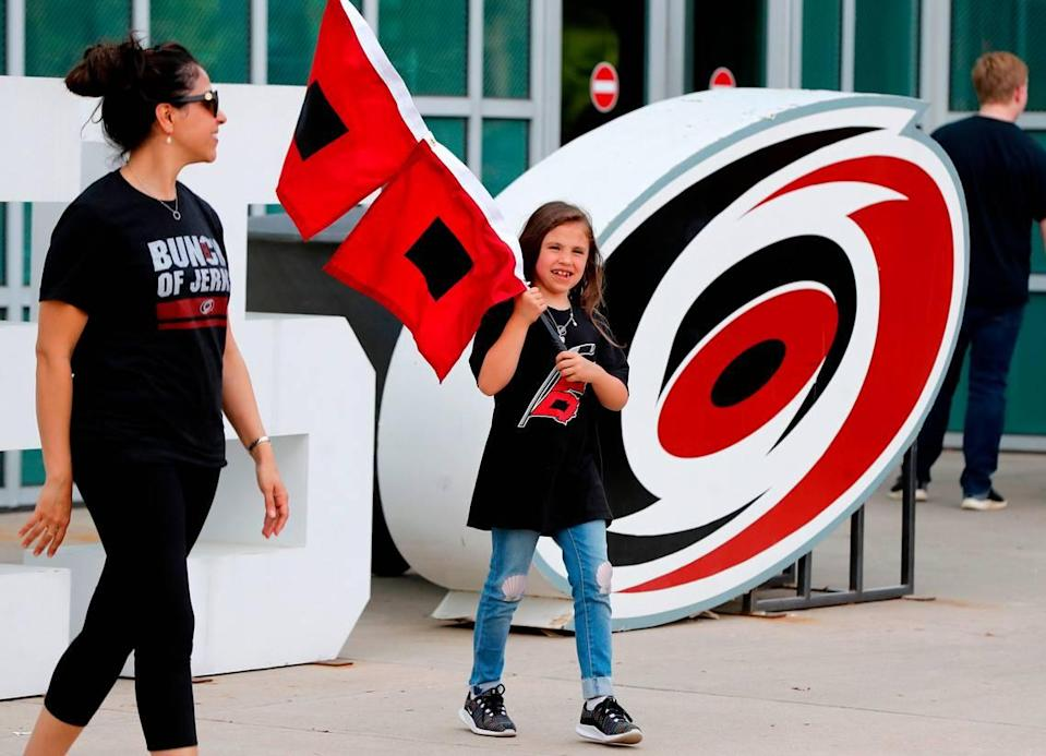 Leila Parrott, 6, of Chapel Hill walks outside PNC Arena before the Carolina Hurricanes' game against the New York Islanders at PNC Arena in Raleigh Friday, May 3, 2019.