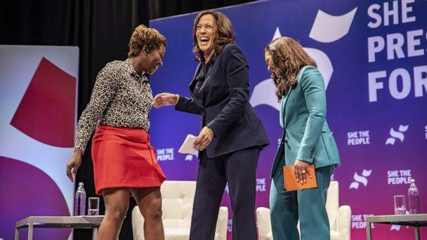 PHOTO: Democratic presidential candidate Sen. Kamala Harris greets the crowd at the She The People Presidential Forum at Texas Southern University on April 24, 2019, in Houston. (Sergio Flores/Getty Images, FILE)