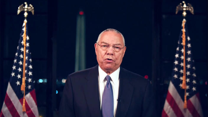 Colin Powell speaks during the virtual Democratic National Convention on Aug. 18, 2020. (via Reuters TV)
