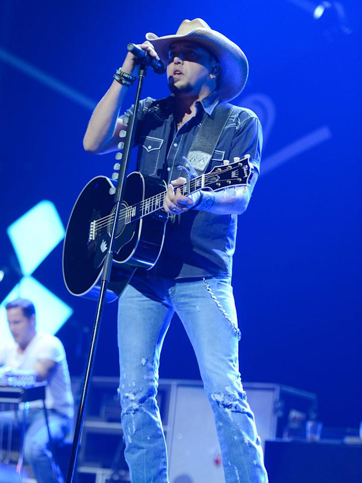 LAS VEGAS, NV - SEPTEMBER 21:  Jason Aldean performs onstage during the 2012 iHeartRadio Music Festival at MGM Grand Garden Arena on September 21, 2012 in Las Vegas, Nevada.  (Photo by Kevin Mazur/WireImage)