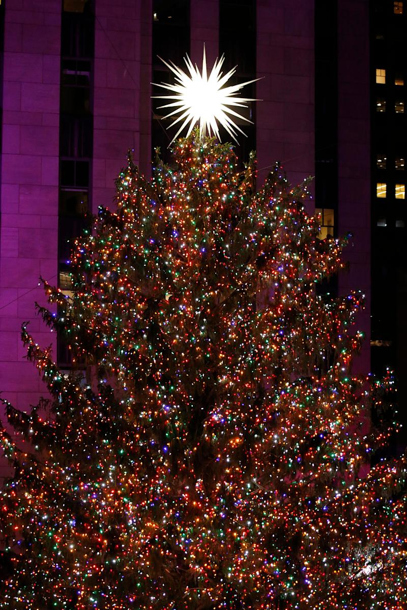 The Rockefeller Center Christmas Tree, with Swarovski Star on top, during the 87th Annual Rockefeller Center Christmas Tree Lighting Ceremony at Rockefeller Center on Dec. 4, 2019, in New York.