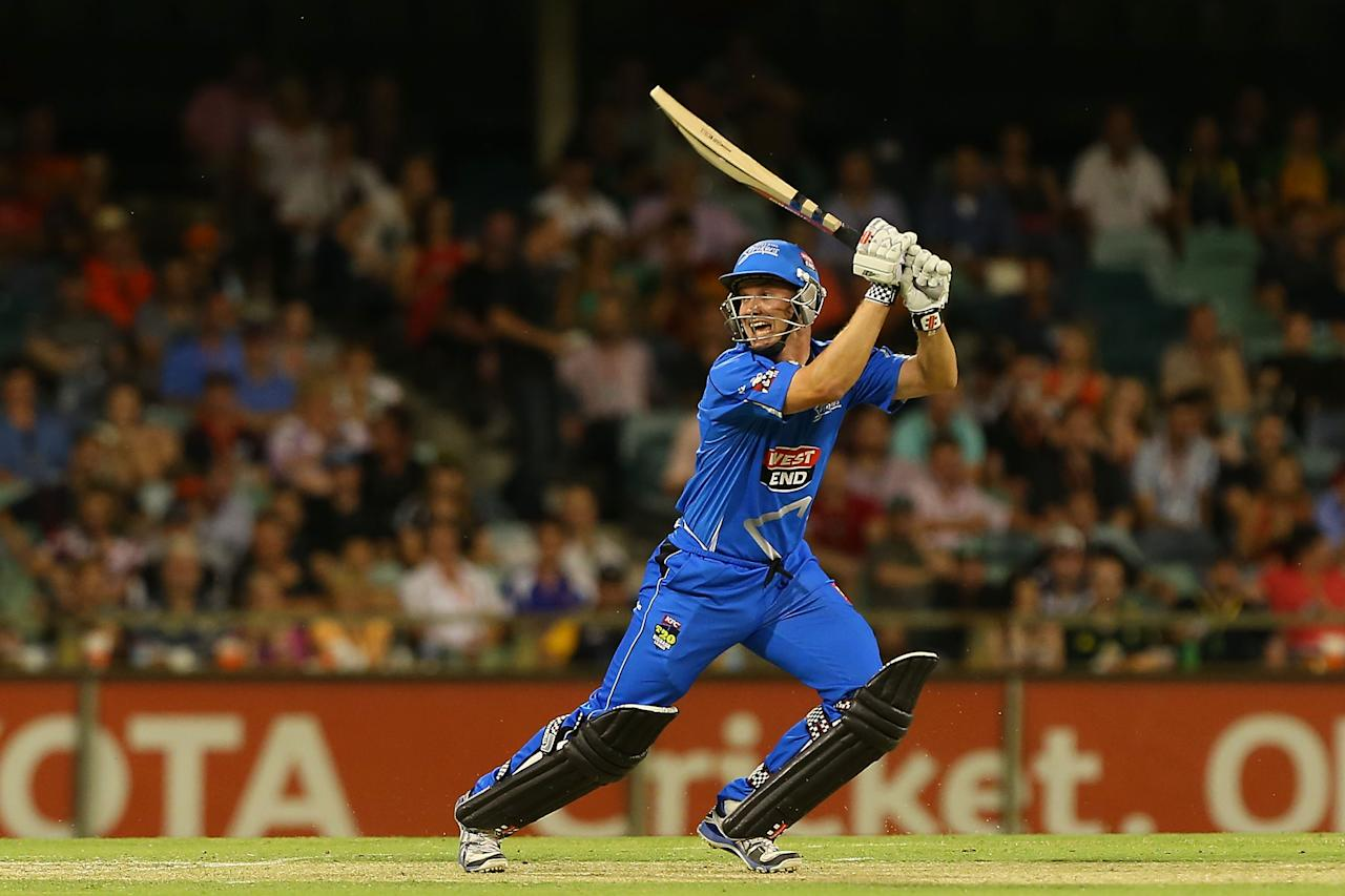 PERTH, AUSTRALIA - DECEMBER 09: Michael Klinger of the Strikers bats during the Big Bash League match between the Perth Scorchers and Adelaide Strikers at WACA on December 9, 2012 in Perth, Australia.  (Photo by Paul Kane/Getty Images)