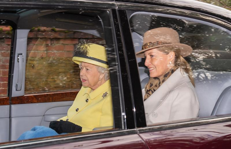 Queen Elizabeth II and the Countess of Wessex leave after attending a morning church service at St Mary Magdalene Church in Sandringham, Norfolk. (Photo by Joe Giddens/PA Images via Getty Images)
