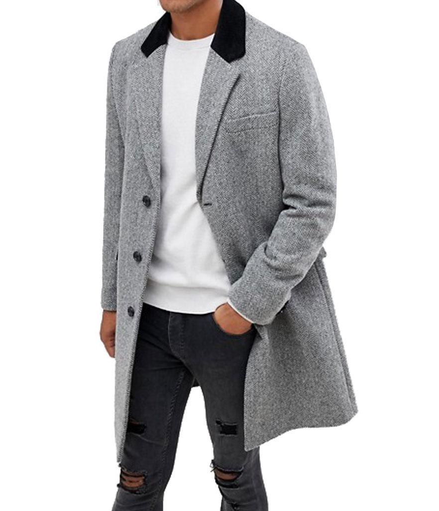 "<p>This tailored herringbone coat features a contrasting black collar. You can dress it up or down, and it can easily be worn with a black suit or casual black skinny jeans for all occasions. <br>Shop it: Asos Design wool mix overcoat in herringbone with velvet collar in gray, $135, <a href=""https://fave.co/2PfsuIG"" rel=""nofollow noopener"" target=""_blank"" data-ylk=""slk:asos.com."" class=""link rapid-noclick-resp"">asos.com.</a> </p>"