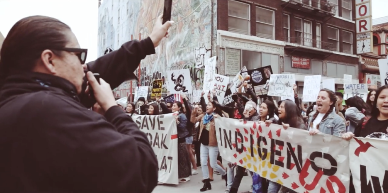 A still from a film by Timothy Ornelas, showing a Dakota Access Pipeline protest in Los Angeles in February 2017. (Timothy Ornelas)