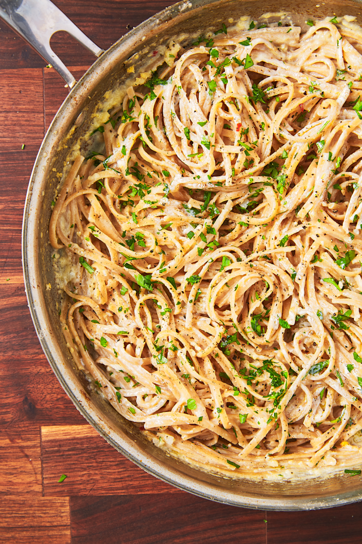 "<p>The lighter version of your favorite indulgent meal.</p><p>Get the recipe from <a href=""https://www.delish.com/cooking/recipe-ideas/recipes/a45568/skinny-alfredo-recipe/"" rel=""nofollow noopener"" target=""_blank"" data-ylk=""slk:Delish"" class=""link rapid-noclick-resp"">Delish</a>. </p>"