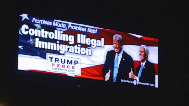 PHOTO: One of 18 billboards spread around Florida paid for by Villagers for Trump, a social club that's run of out The Villages retirement community.   (ABC News )