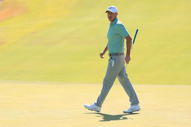 """<div class=""""caption""""> Chase Koepka walks on the eighth green during the first round of the 2019 Shriners Hospitals for Children Open. </div> <cite class=""""credit"""">Mike Lawrie</cite>"""