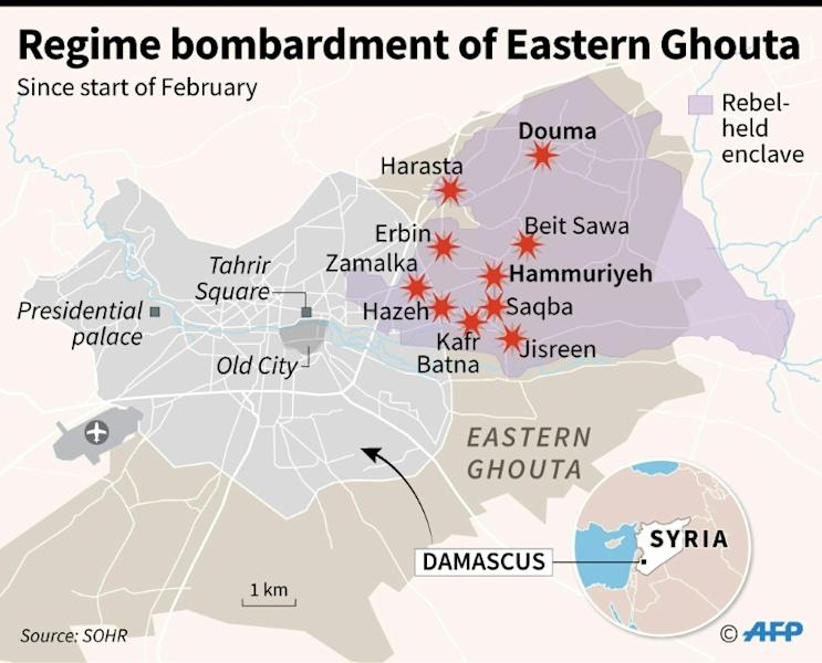 Map of Damascus locating areas of the besieged rebel enclave in Eastern Ghouta hit by regime strikes since February 1